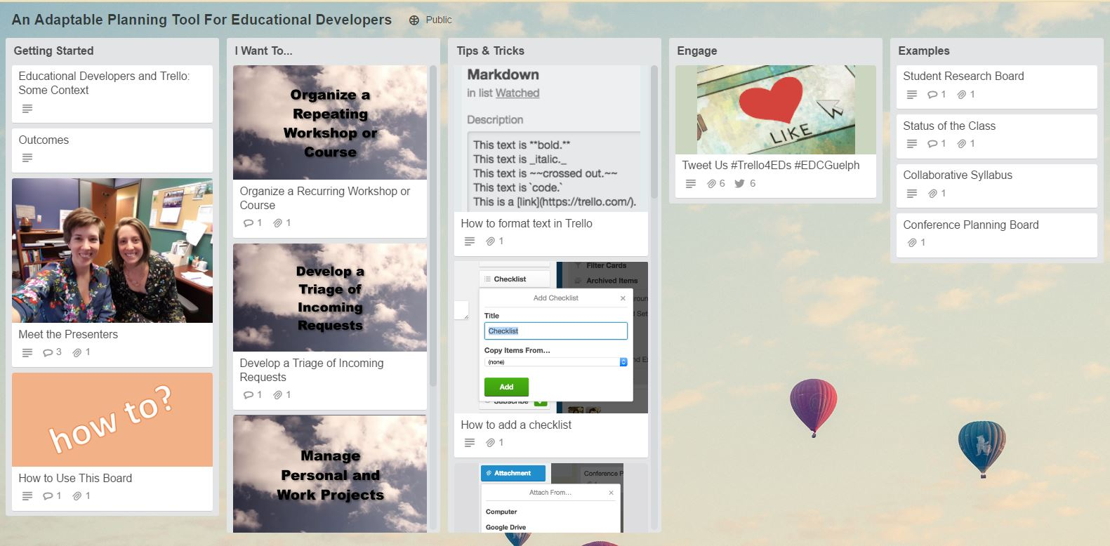 Screenshot of our silent presentation trello board: An Adaptable Planning Tool for Educational Developers.